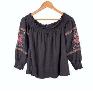 American Eagle Embroidered Off the Shoulder Top